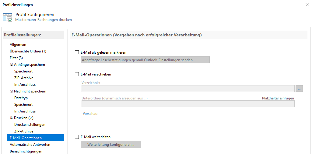 Operationen nach dem E-Mail drucken