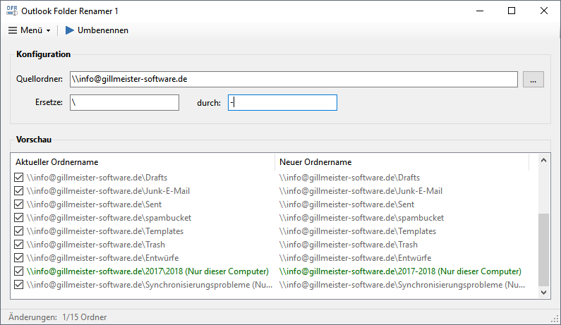 Outlook Folder Renamer - Programmoberfläche